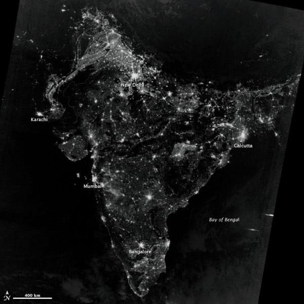 India Image From Satellite in diwali